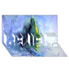 Bright Yellow And Blue Abstract Believe 3d Greeting Card (8x4)  by timelessartoncanvas