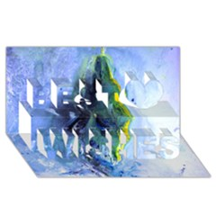 Bright Yellow And Blue Abstract Best Wish 3d Greeting Card (8x4)