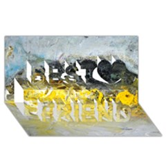 Bright Yellow Abstract Best Friends 3d Greeting Card (8x4)