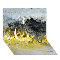 Bright Yellow Abstract Apple 3d Greeting Card (7x5)
