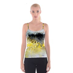 Bright Yellow Abstract Spaghetti Strap Tops by timelessartoncanvas