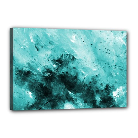 Turquoise Abstract Canvas 18  X 12  by timelessartoncanvas