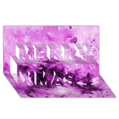 Bright Pink Abstract Merry Xmas 3d Greeting Card (8x4)  by timelessartoncanvas