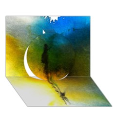 Watercolor Abstract Circle 3d Greeting Card (7x5)