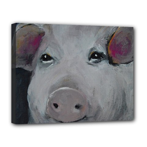 Piggy No  1 Canvas 14  X 11  by timelessartoncanvas