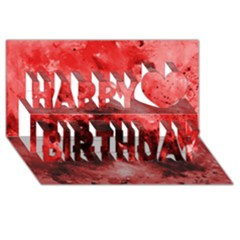 Red Abstract Happy Birthday 3d Greeting Card (8x4)  by timelessartoncanvas