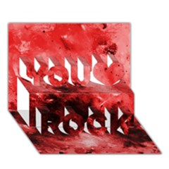 Red Abstract You Rock 3d Greeting Card (7x5)