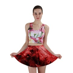 Red Abstract Mini Skirts