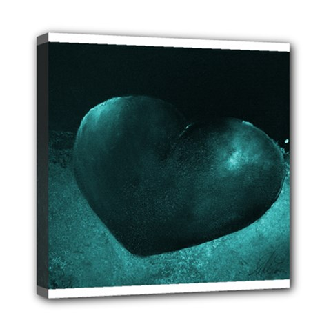 Teal Heart Mini Canvas 8  X 8  by timelessartoncanvas