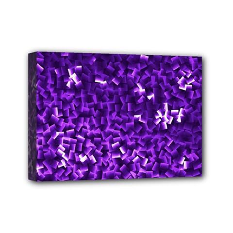 Purple Cubes Mini Canvas 7  X 5  by timelessartoncanvas