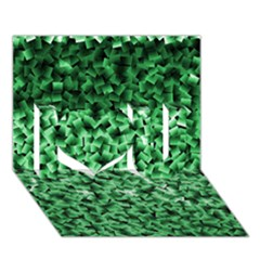 Green Cubes I Love You 3D Greeting Card (7x5)