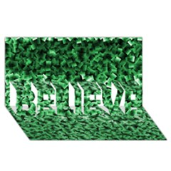Green Cubes Believe 3d Greeting Card (8x4)  by timelessartoncanvas