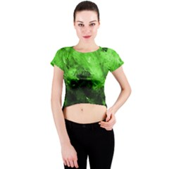 Bright Green Abstract Crew Neck Crop Top