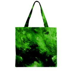 Bright Green Abstract Zipper Grocery Tote Bags