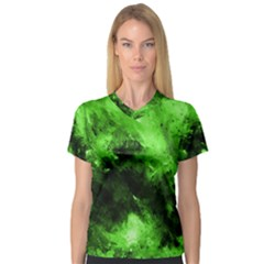 Bright Green Abstract Women s V Neck Sport Mesh Tee