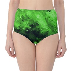 Bright Green Abstract High Waist Bikini Bottoms