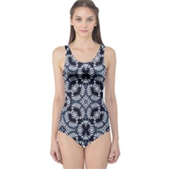 Futuristic Geometric Print Women s One Piece Swimsuits by dflcprintsclothing