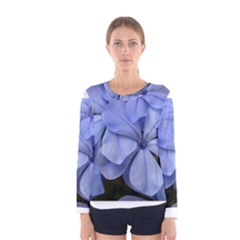 Bright Blue Flowers Women s Long Sleeve T Shirts by timelessartoncanvas