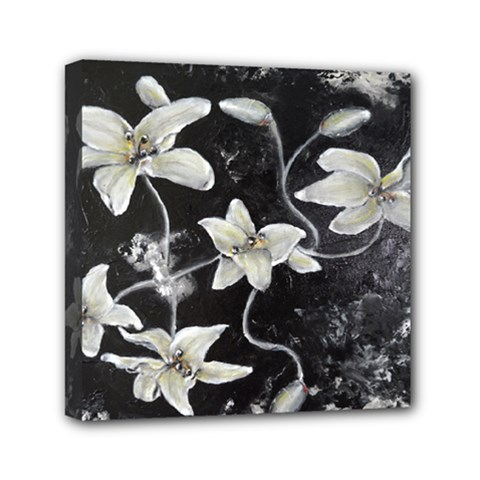 Black And White Lilies Mini Canvas 6  X 6  by timelessartoncanvas