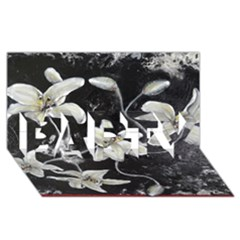 Black And White Lilies Party 3d Greeting Card (8x4)  by timelessartoncanvas
