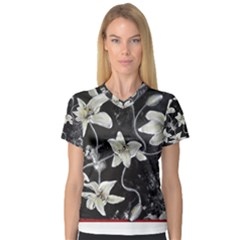 Black And White Lilies Women s V Neck Sport Mesh Tee