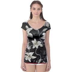 Black And White Lilies Short Sleeve Leotard by timelessartoncanvas