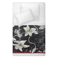 Black And White Lilies Duvet Cover Single Side (single Size) by timelessartoncanvas