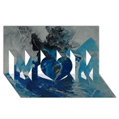 Blue Abstract Mom 3d Greeting Card (8x4)