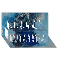 Blue Abstract No 2 Best Wish 3d Greeting Card (8x4)