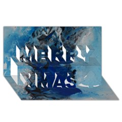 Blue Abstract No 2 Merry Xmas 3d Greeting Card (8x4)