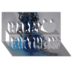 Blue Abstract No 3 Happy Birthday 3d Greeting Card (8x4)  by timelessartoncanvas