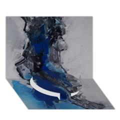 Blue Abstract No 3 Circle Bottom 3d Greeting Card (7x5)
