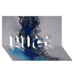 Blue Abstract No 3 Hugs 3d Greeting Card (8x4)  by timelessartoncanvas