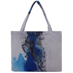 Blue Abstract No 3 Tiny Tote Bags by timelessartoncanvas