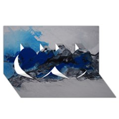 Blue Abstract No 4 Twin Hearts 3d Greeting Card (8x4)