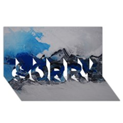 Blue Abstract No 4 Sorry 3d Greeting Card (8x4)