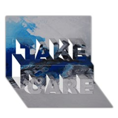 Blue Abstract No 4 Take Care 3d Greeting Card (7x5)  by timelessartoncanvas