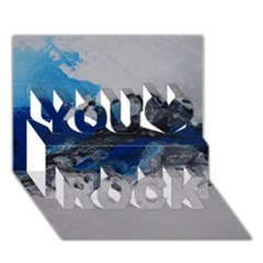 Blue Abstract No 4 You Rock 3d Greeting Card (7x5)