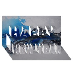 Blue Abstract No 4 Happy New Year 3d Greeting Card (8x4)