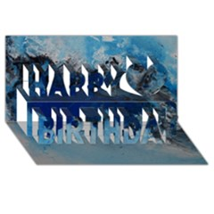 Blue Abstract No 5 Happy Birthday 3d Greeting Card (8x4)  by timelessartoncanvas