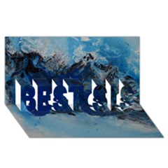 Blue Abstract No 5 Best Sis 3d Greeting Card (8x4)