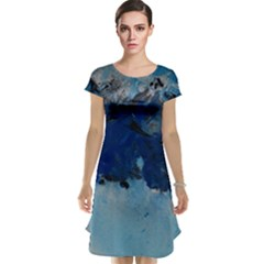 Blue Abstract No 5 Cap Sleeve Nightdresses by timelessartoncanvas