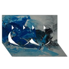 Blue Abstract No  6 Twin Hearts 3d Greeting Card (8x4)  by timelessartoncanvas