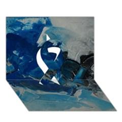 Blue Abstract No  6 Ribbon 3d Greeting Card (7x5)