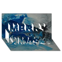 Blue Abstract No  6 Merry Xmas 3d Greeting Card (8x4)