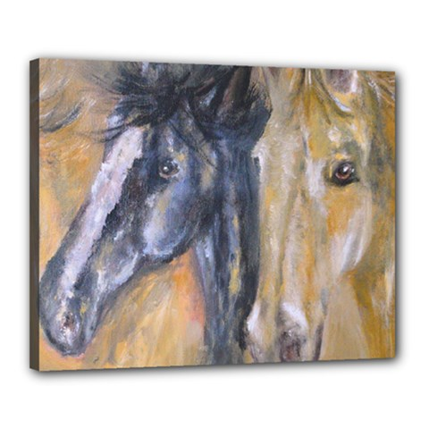 2 Horses Canvas 20  X 16  by timelessartoncanvas