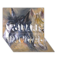 2 Horses You Are Invited 3d Greeting Card (7x5)  by timelessartoncanvas