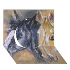 2 Horses Circle 3d Greeting Card (7x5)