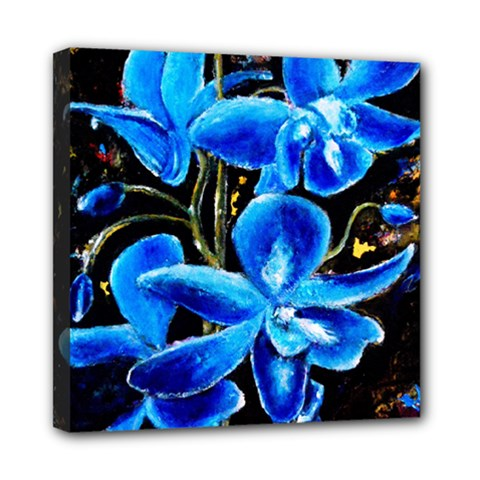 Bright Blue Abstract Flowers Mini Canvas 8  X 8  by timelessartoncanvas