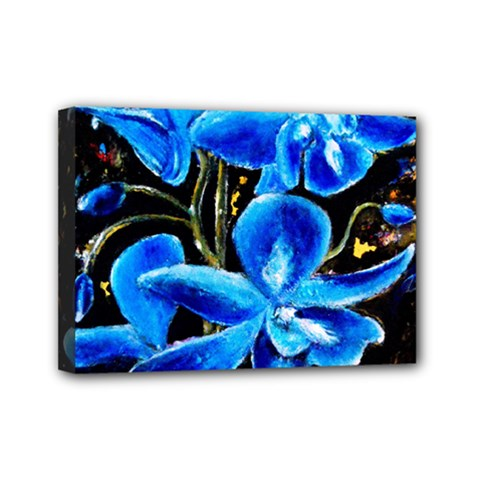 Bright Blue Abstract Flowers Mini Canvas 7  X 5  by timelessartoncanvas